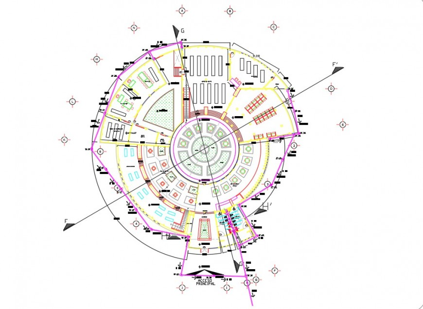 Circular floor plan drawing details of school with library dwg file