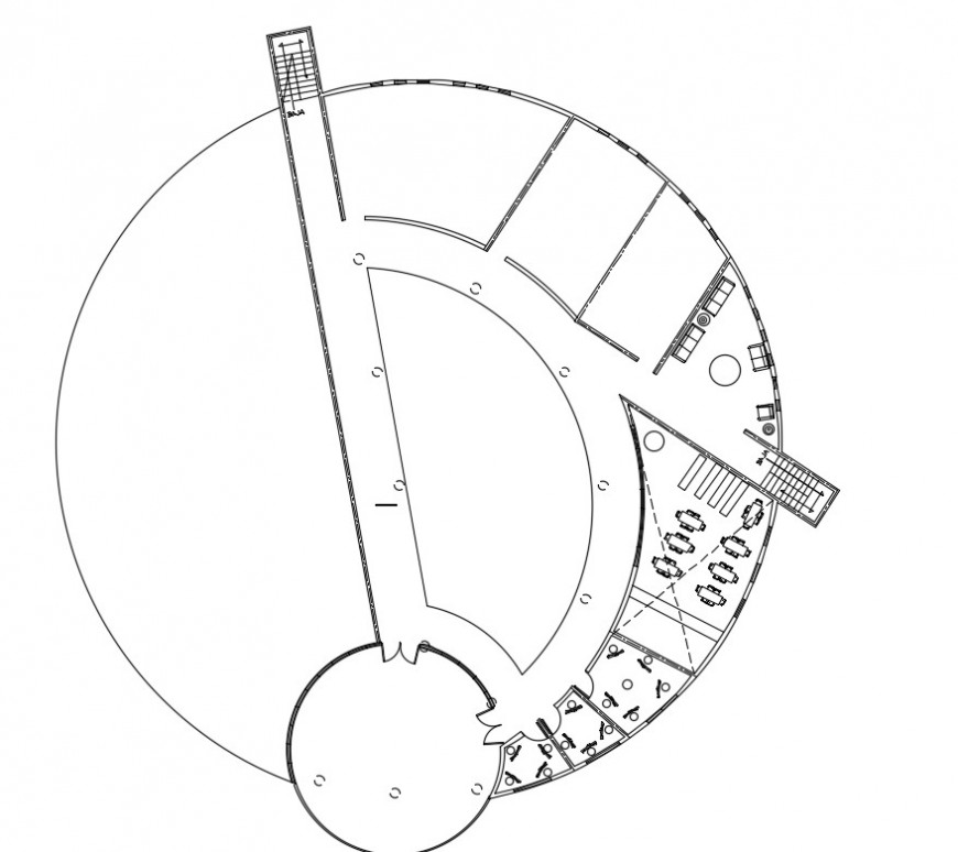 Circular plan top view plan detail file model