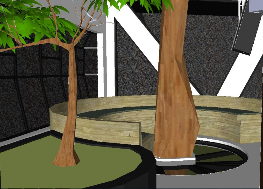 Circular seating view 3d concept model