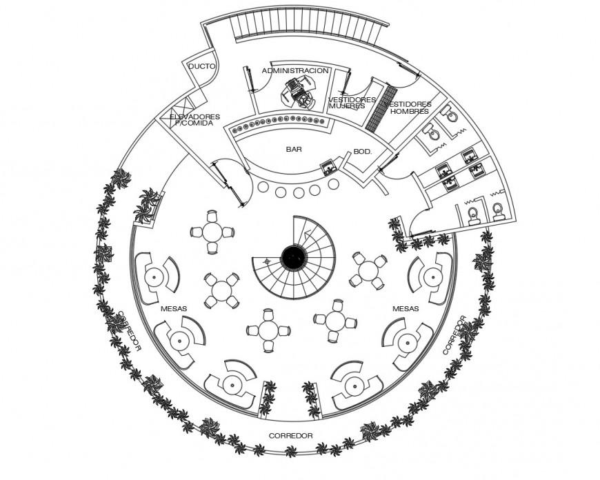 Circular shape floor plan of hotel in auto cad file