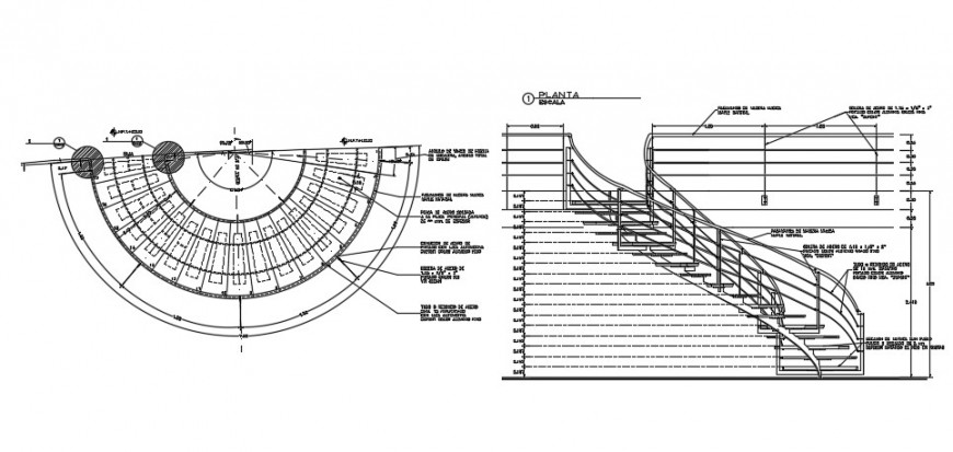 Circular stairways section and constructive structure details dwg file