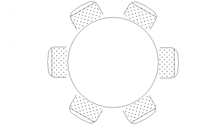 Circular table with chair drawing elevation in autocad software