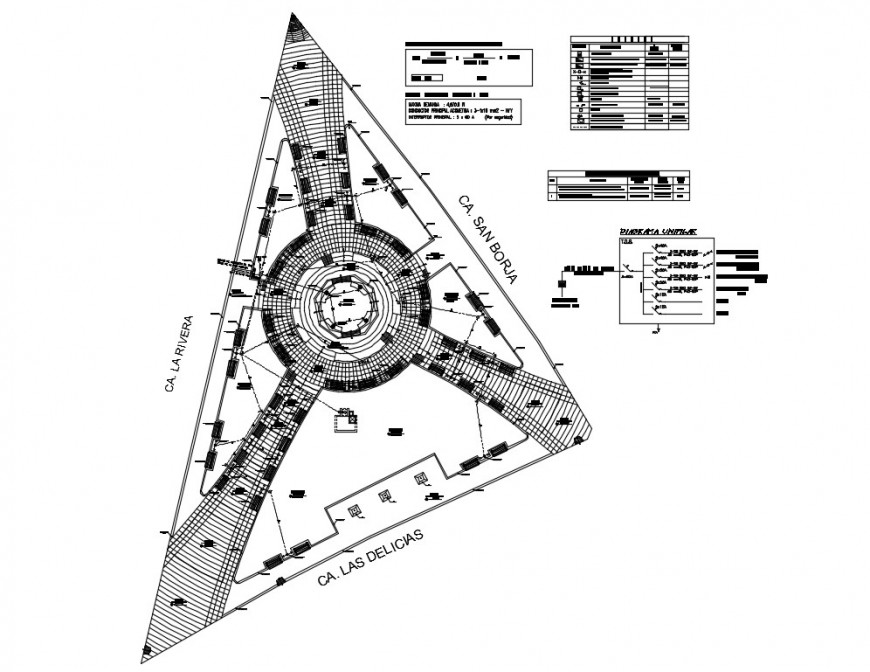 City architectural electrical installation in an area 2d plan detail layout file in dwg format