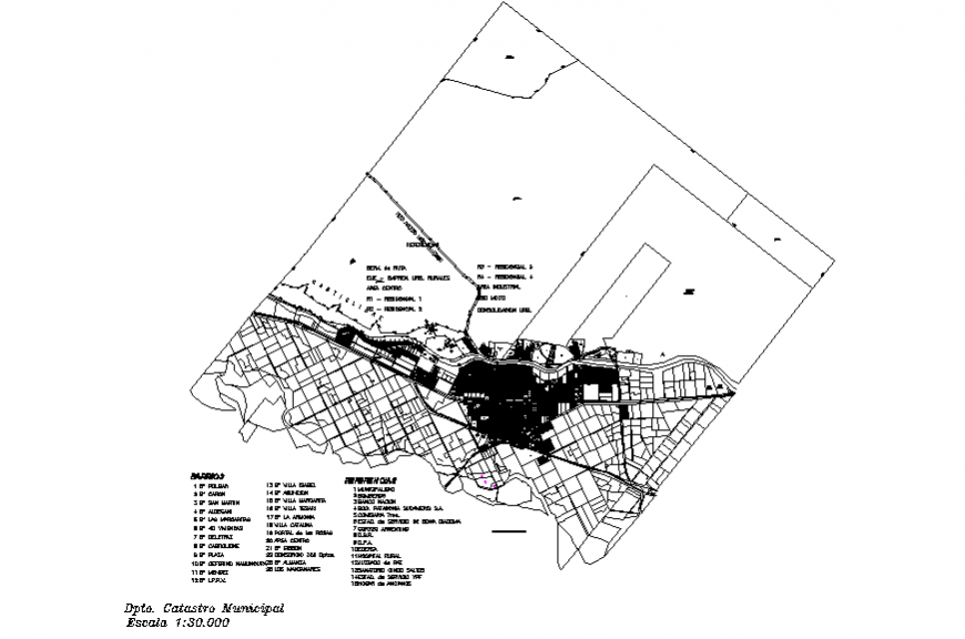 City architecture map with town planning for municipal dwg file