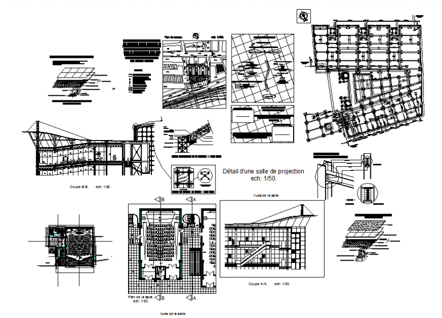 City cultural center hall elevation, section, layout plan and constructive structure details dwg file