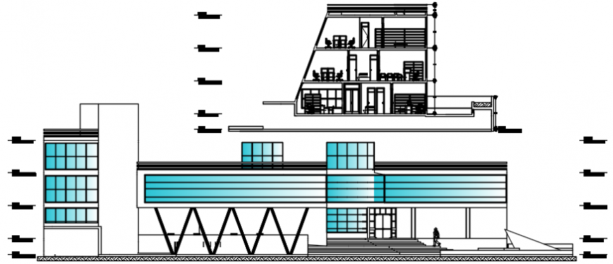 City cultural hall main elevation and section cad drawing details dwg file