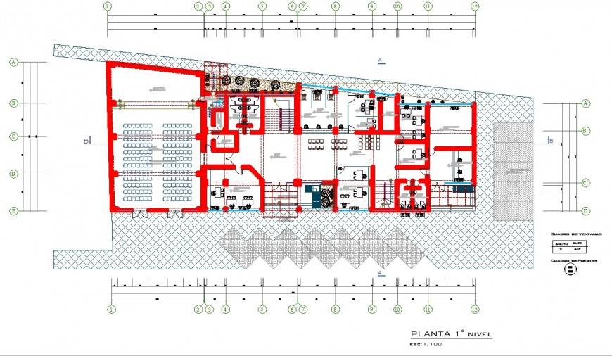 city Hall plan drawing in dwg file.