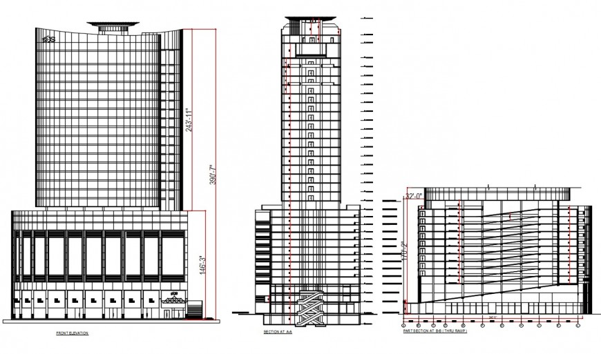 City high rise office tower building front elevation and section and part section drawing details dwg file