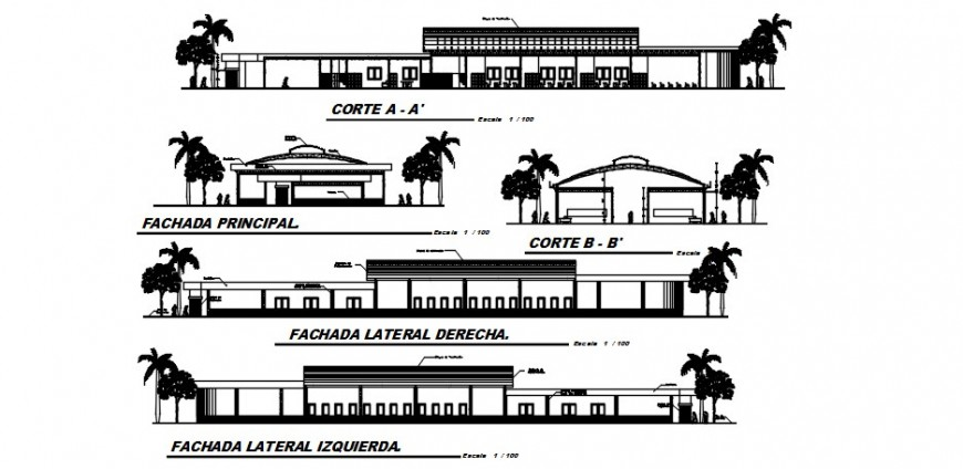 City hospital all sided elevations and sections drawing details dwg file