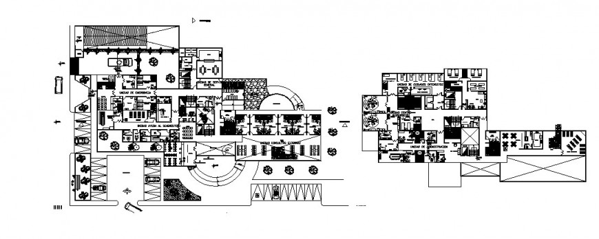 City hospital ground and first floor distribution plan cad drawing details dwg file