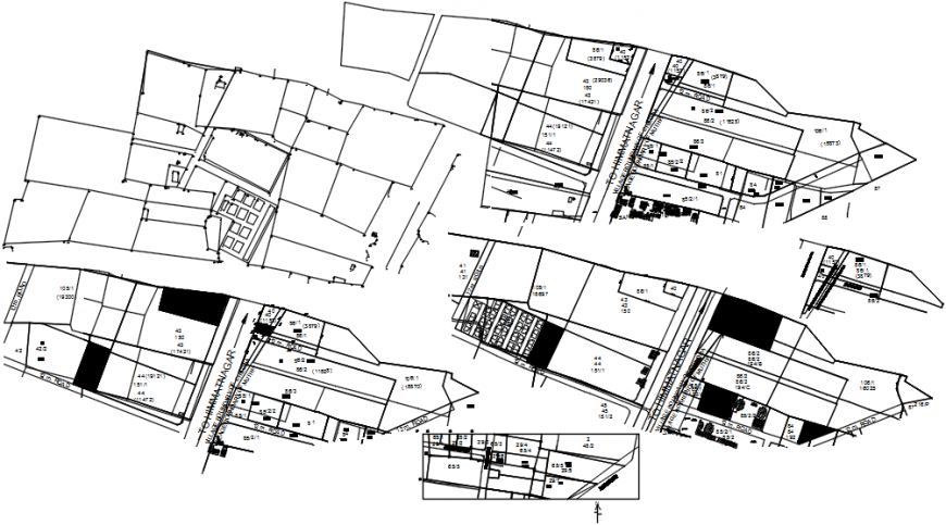 City of gujarat architecture layout map and town planning details dwg file