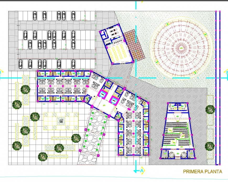 City plot detail plan view and elevation dwg file