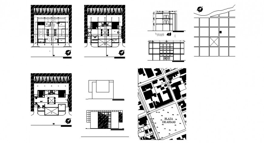 City services and payments offices building elevation, section and plan cad drawing details dwg file