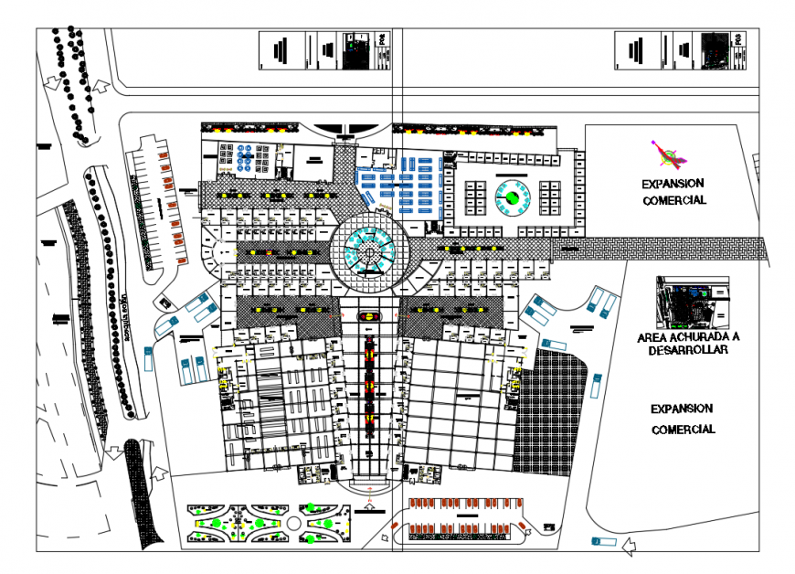 City shopping center mall architecture layout plan cad drawing details dwg file