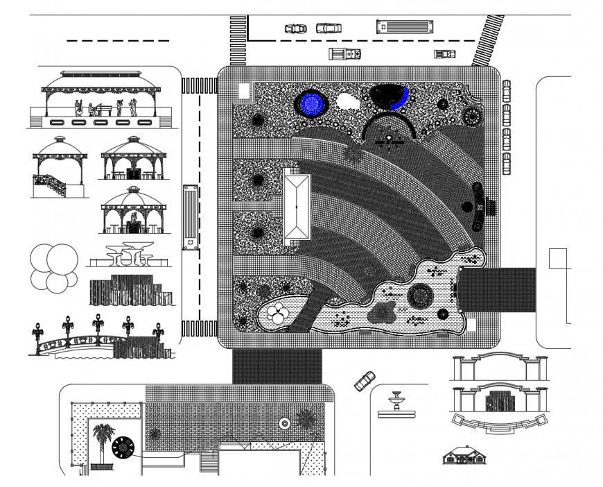 City theme park landscaping structure and garden equipment details dwg file