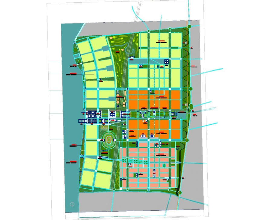 City town plan area 2 D view dwg file