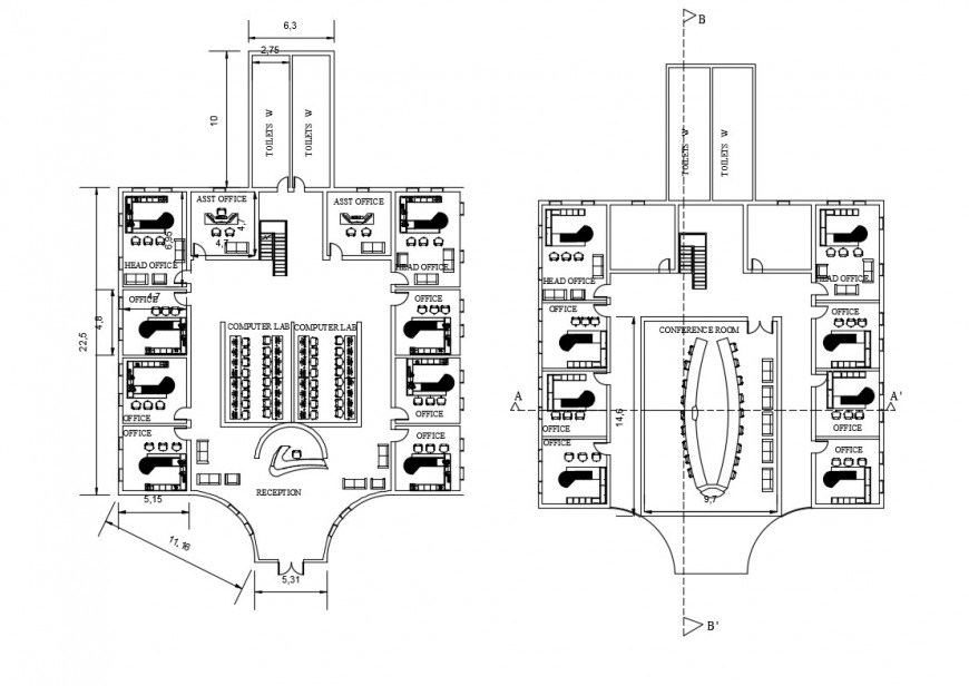 Civic center head office ground and first floor plan cad drawing details dwg file