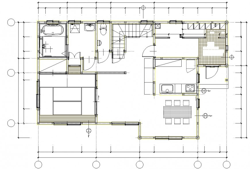 Civil layout plan of ground floor of bungalow in dwg AutoCAD file.
