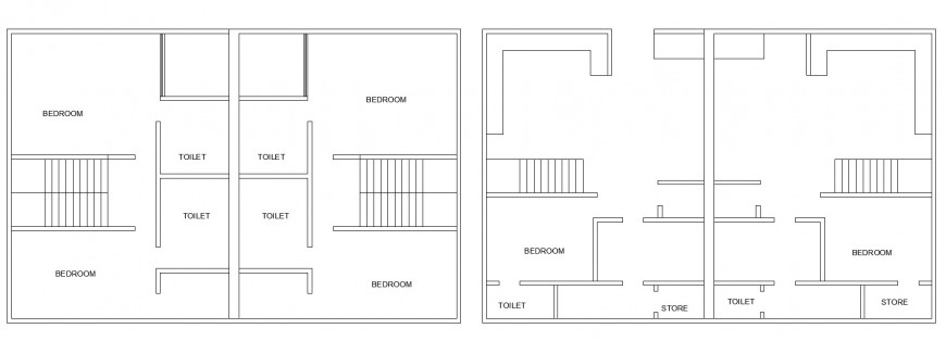 Civil layout plan of twin bungalow in dwg AutoCAD file.