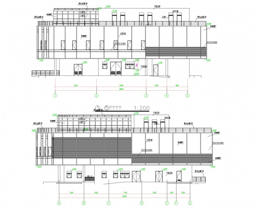 Class room elevation plan dwg file