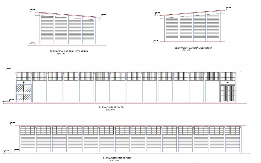 Class rooms barracks elevation plan layout file