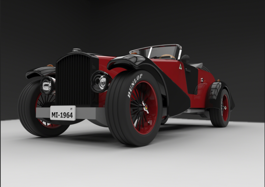 Classic 3d car front view design cad block details dwg file