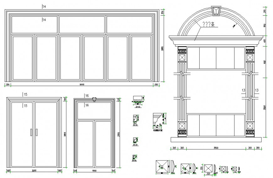 Classic door and multiple window elevation blocks cad drawing details dwg file