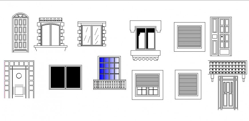 Classic doors and window elevation blocks cad drawing details dwg file