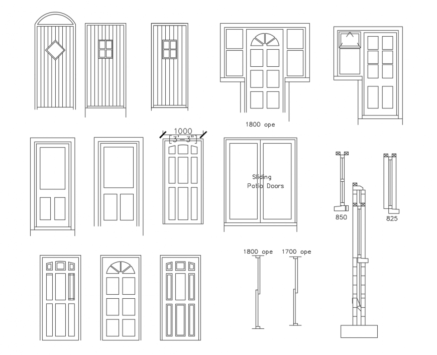 Classic house door elevation blocks cad drawing details dwg file