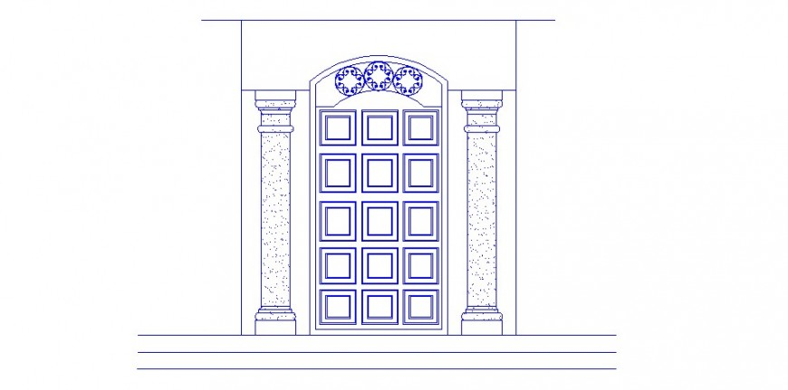 Classic main door elevation cad drawing details dwg file