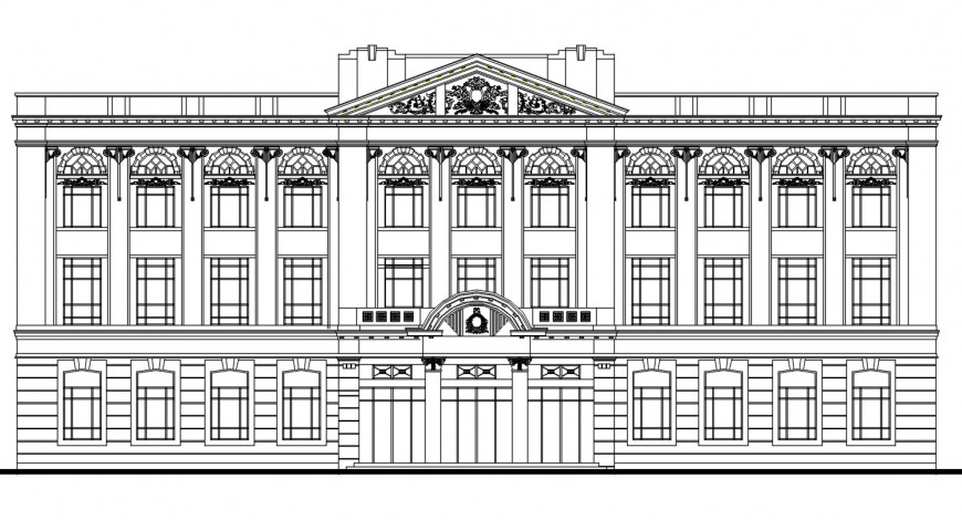 Classic mension multi-level villa front elevation drawing details dwg file