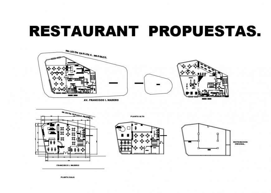 Classic restaurant distribution plan cad drawing details dwg file