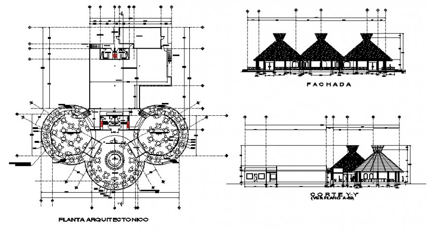 Classic restaurant main elevation, section and distribution plan cad drawing details dwg file