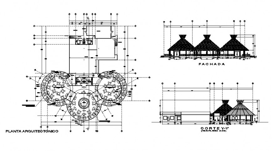 Classic restaurant main elevation, section and floor plan distribution cad drawing details dwg file
