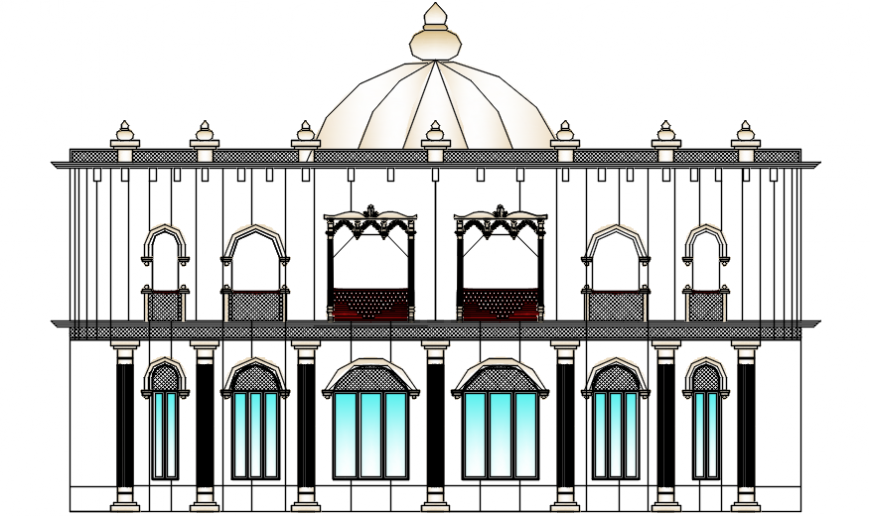 Classic restaurant main frontal elevation cad drawing details dwg file