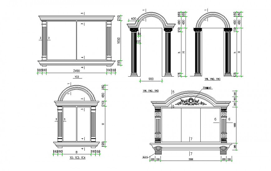 Classic single and double window elevation blocks drawing details dwg file