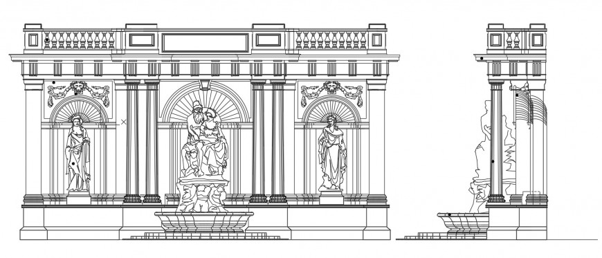 Classic temple front elevation with wall and sculpture dwg file