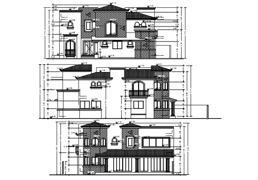 Classic two level house all sided elevation cad drawing details dwg file