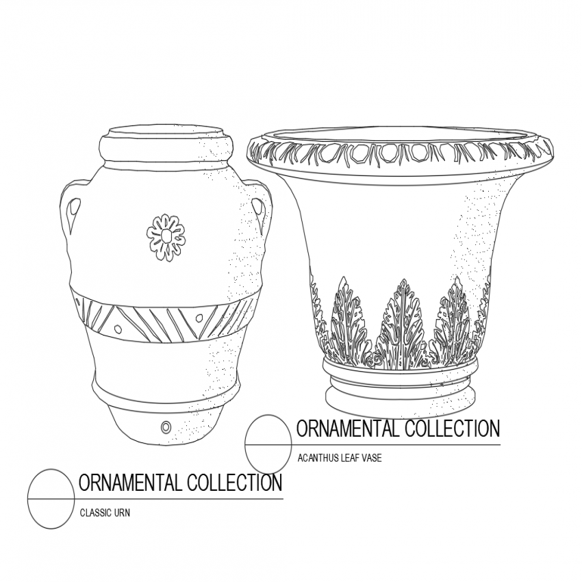 Classic urn and acanthus leaf vase isometric view dwg file