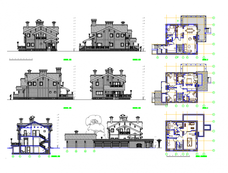 Classic villa all sided elevations and plan cad drawing details dwg file