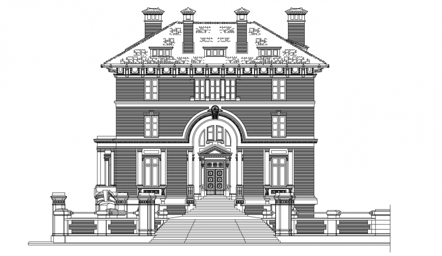 Classic villa frontal elevation cad drawing details dwg file