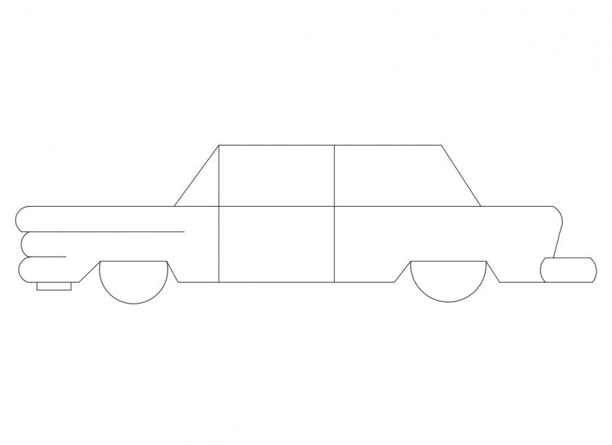 Classic vintage car side elevation cad block details dwg file