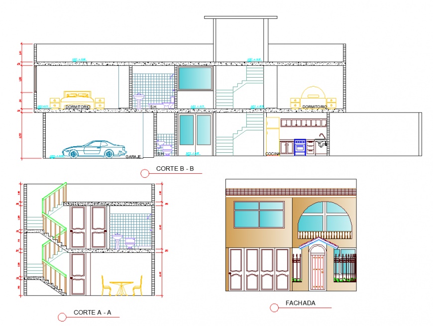 Classical architecture bungalow working detail drawing in dwg AutoCAD file.