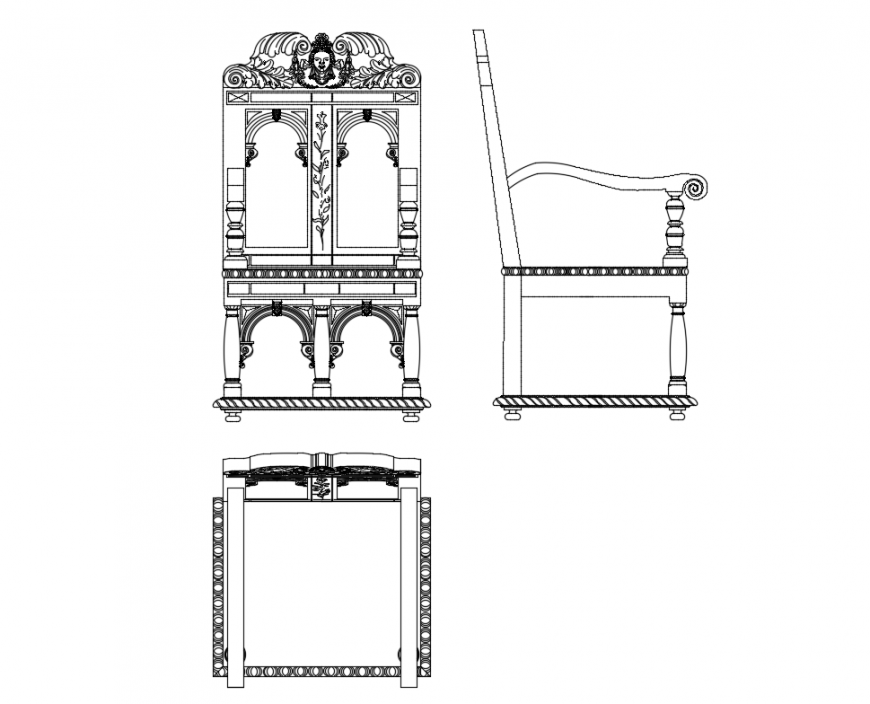 Classical armchair all side elevation cad block details dwg file
