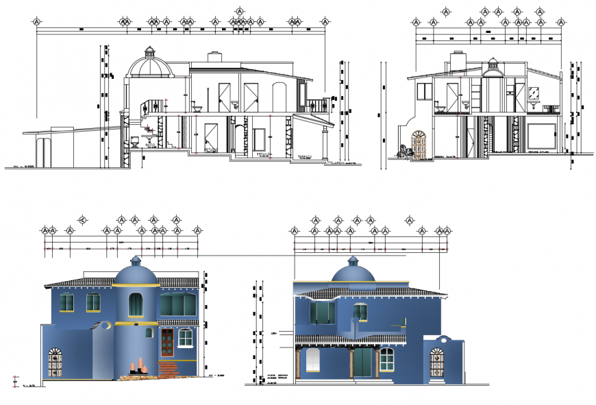 Classical club house main and back elevation and section cad drawing details dwg file