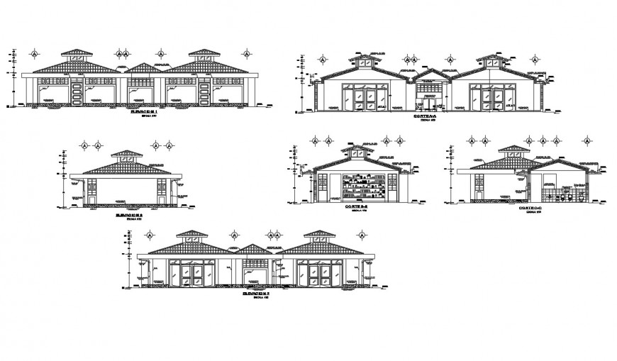 Classical college building all sided elevation and sectional drawing details dwg file