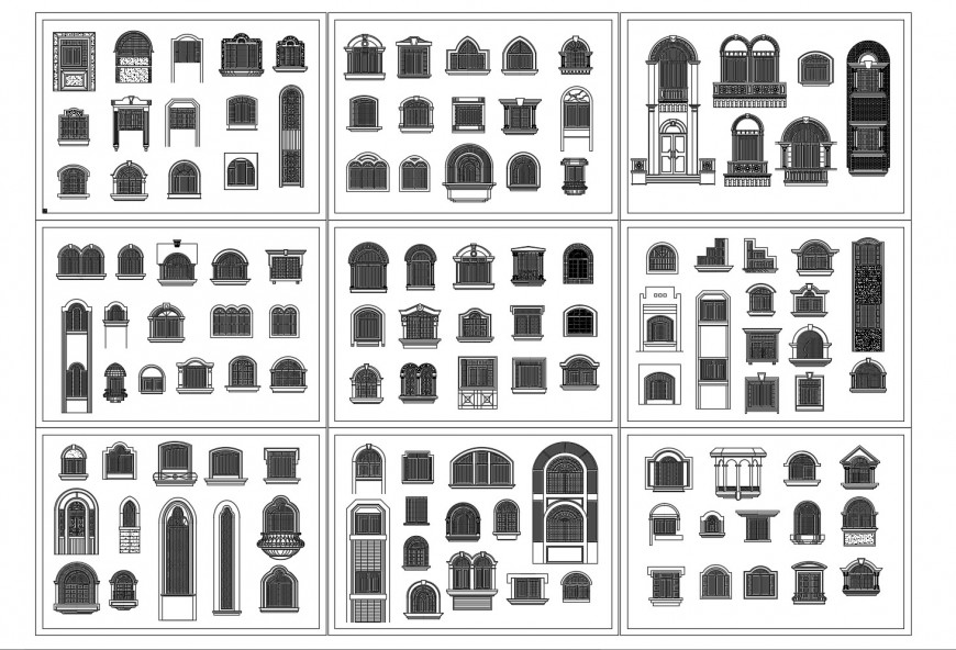 Classical multiple windows elevation blocks cad drawing details dwg file