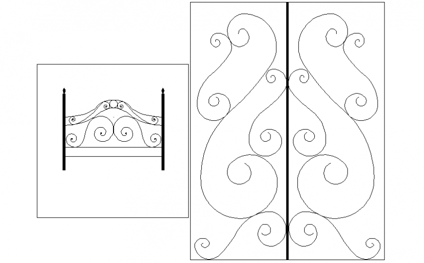 Classical railing block details for staircase dwg file