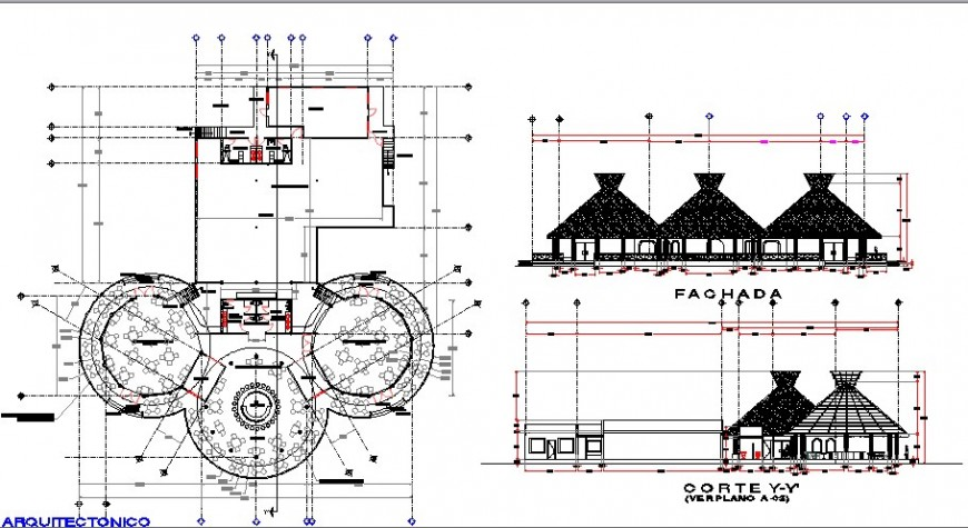 Classical restaurant elevation, section and plan details dwg file