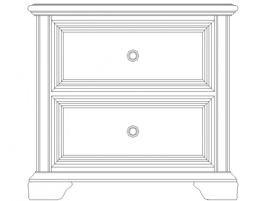 Classical style side unit drawing in dwg AutoCAD file.